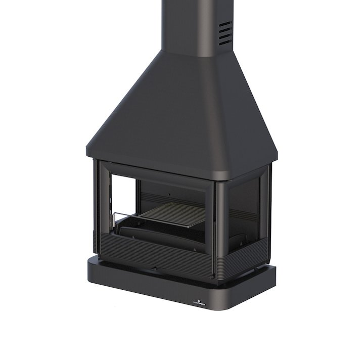 Bronpi Lisboa-C Wall Mounted Wood Fireplace - Black