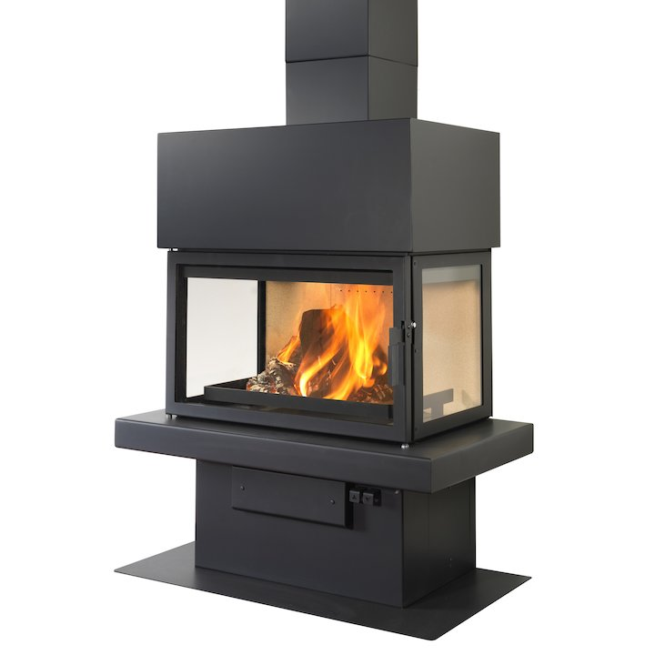 LL Calor 15ABC Mural Wood Fireplace Black Box Top - Black