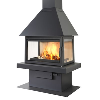 LL Calor 15ABC Mural Wood Fireplace Black Low Canopy Top