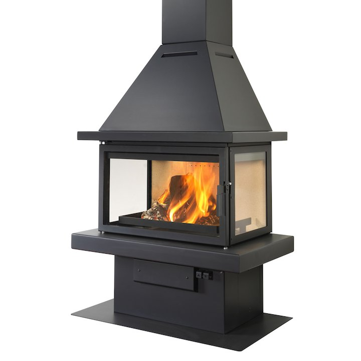 LL Calor 15ABC Mural Wood Fireplace Black Traditional Top - Black