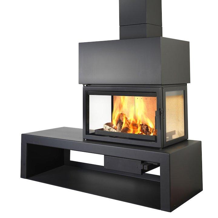 LL Calor 15DE Mural Wood Fireplace Black Right Version - Black