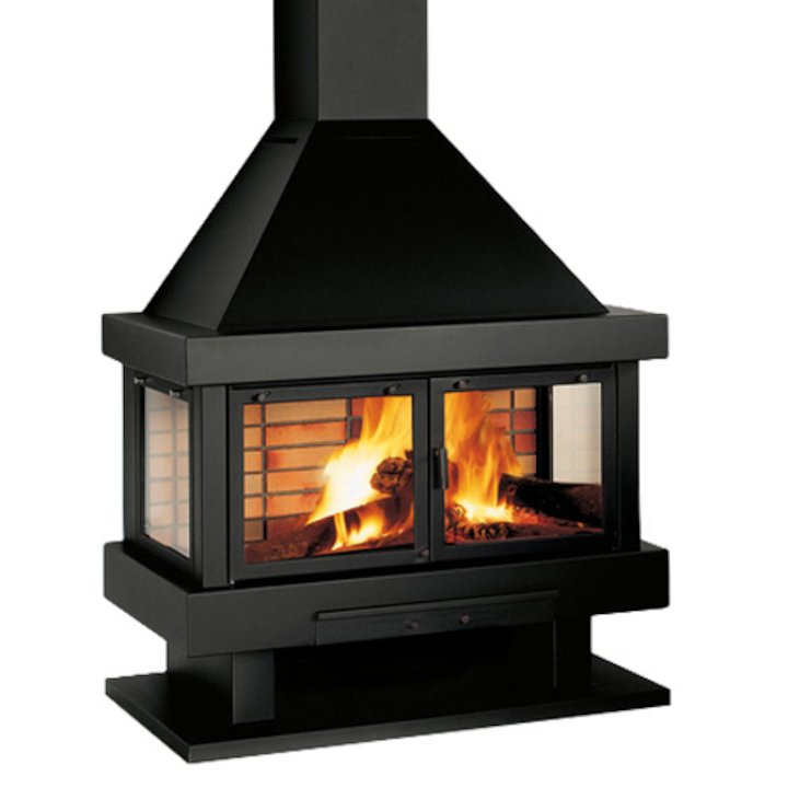 Rocal Barbara 120 Mural Wood Fireplace - Black