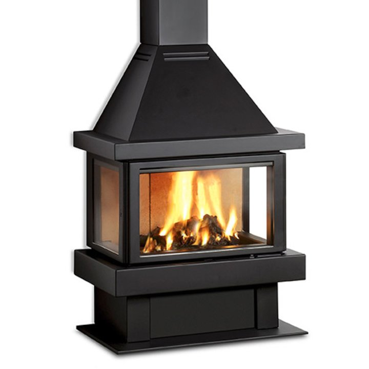 Rocal Barbara 90 Mural Wood Fireplace - Black
