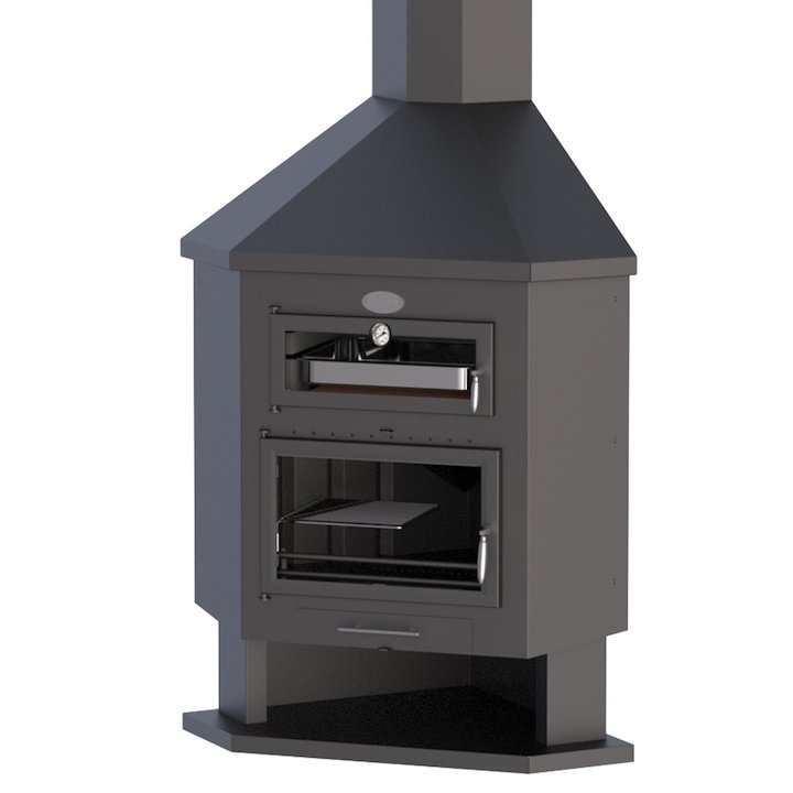 Bronpi Ebro-R Corner Wood Fireplace - With Oven - Black