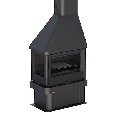 Bronpi Lisboa-E Corner Wood Fireplace Black Left Side Glass