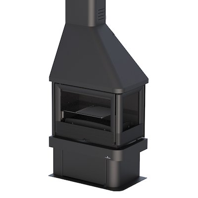 Bronpi Lisboa-E Corner Wood Fireplace Black Right Side Glass
