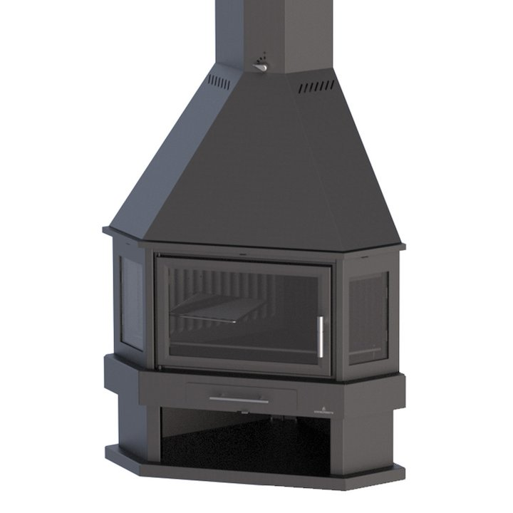 Bronpi Lorca-R Corner Wood Fireplace - Black