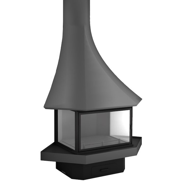JC Bordelet Julietta 985 Corner Wood Fireplace - Anthracite Grey