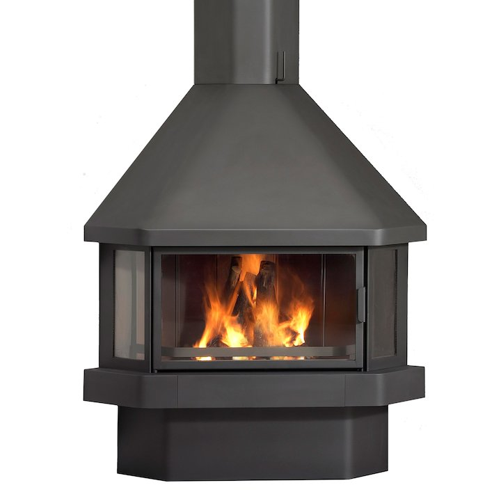 LL Calor 20 Corner Wood Fireplace - Black
