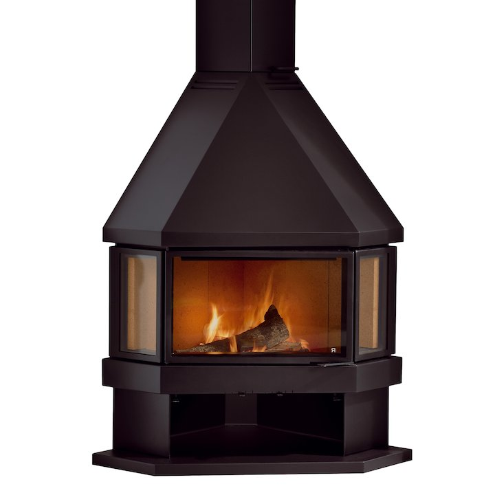 Rocal Estela Corner Wood Fireplace - Black