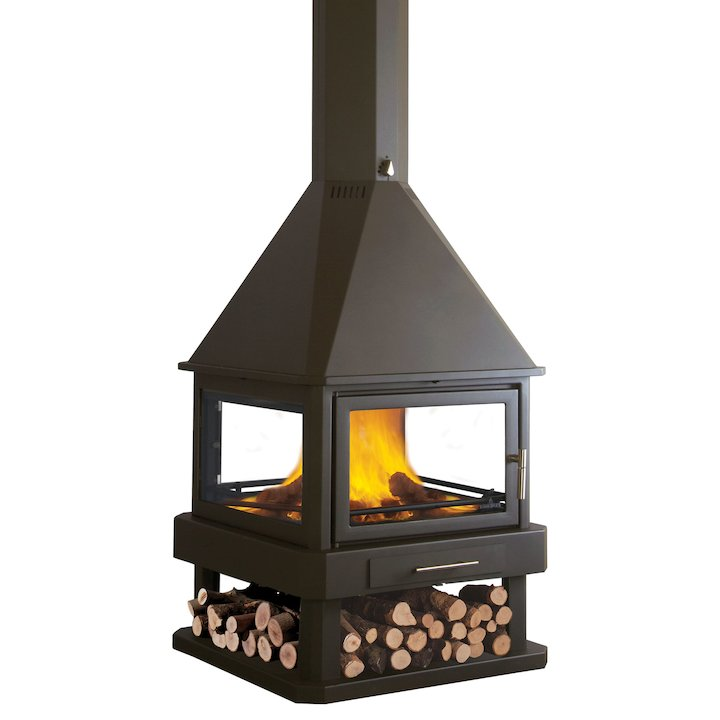 Bronpi Huelva Central Wood Fireplace - Black