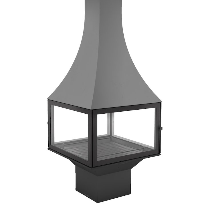 JC Bordelet Julietta 985 Black Line Central Wood Fireplace - Anthracite Grey