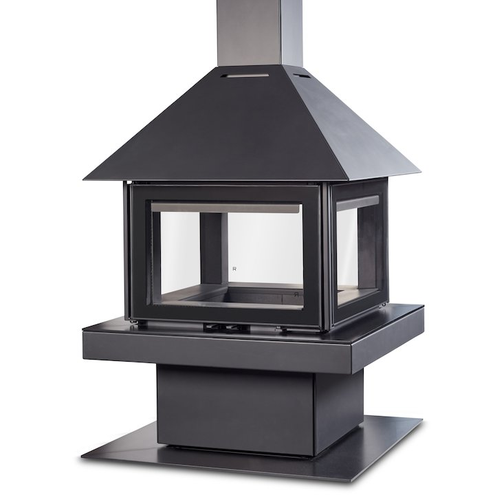 Rocal Giselle 90 Central Wood Fireplace - Black