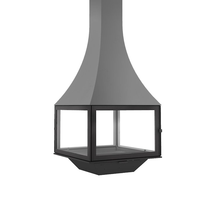 JC Bordelet Julietta 985 Black Line Suspended Wood Fireplace - Anthracite Grey
