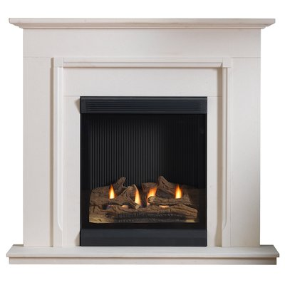 Burley Lynwood Flueless Gas Fireplace Suite Portuguese Limestone Frameless/Edge
