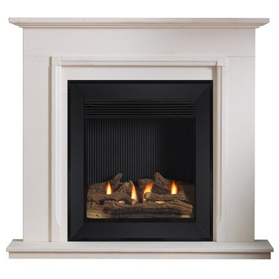 Burley Lynwood Flueless Gas Fireplace Suite Portuguese Limestone Silhouette Trim