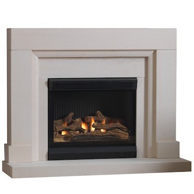 Burley Watersmeet Flueless Gas Fireplace Suite Portuguese Limestone Frameless/Edge