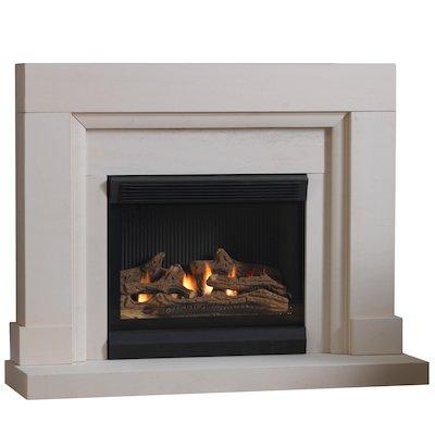 Burley Watersmeet Flueless Gas Fireplace Suite Portuguese Limestone Frameless/Edge