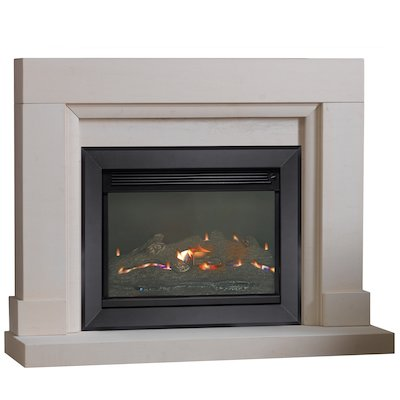 Burley Watersmeet Flueless Gas Fireplace Suite Portuguese Limestone Silhouette Trim