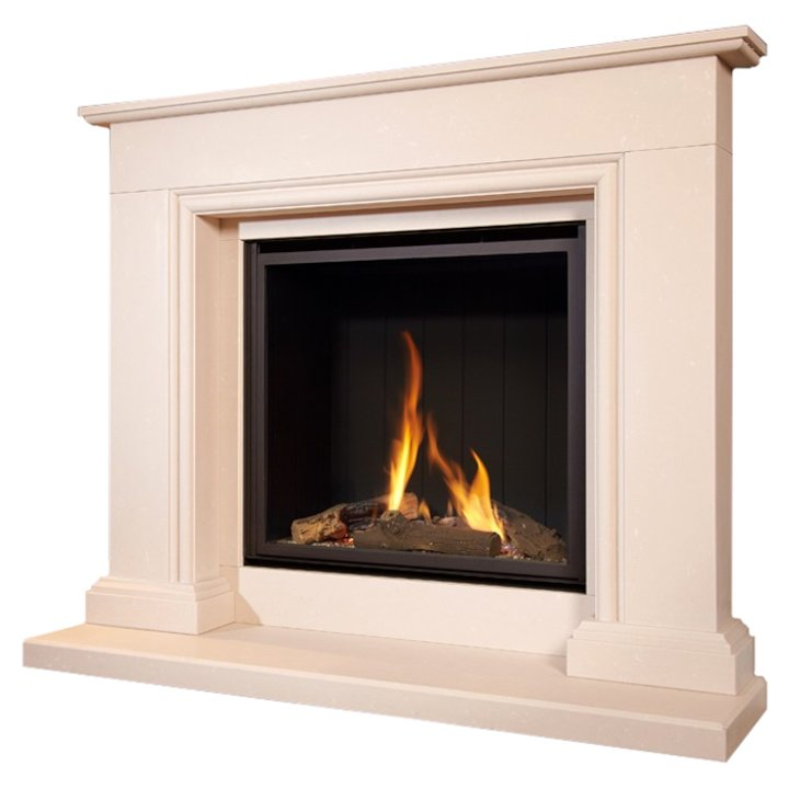 Flavel Sophia Conventional Gas Micro-Marble Fireplace Suite - Royal Botticino Micro-Marble