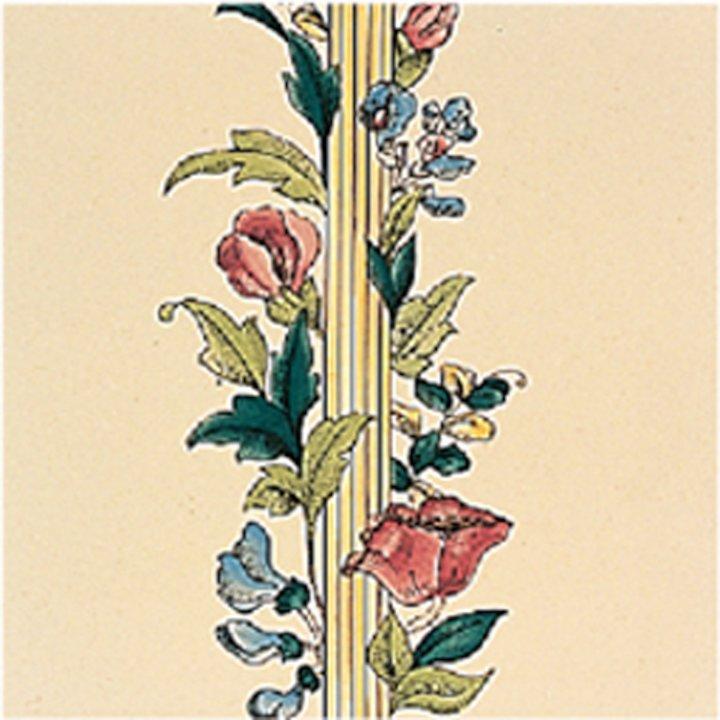 Stovax Poppy & Wheatsheaf Ceramic Glazed Hearth Tiles Cream Straight Edge 2 - Cream