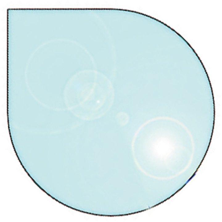 EVA 12mm Teardrop Circle Glass Hearth Floor Plate (1220x1000) - Clear