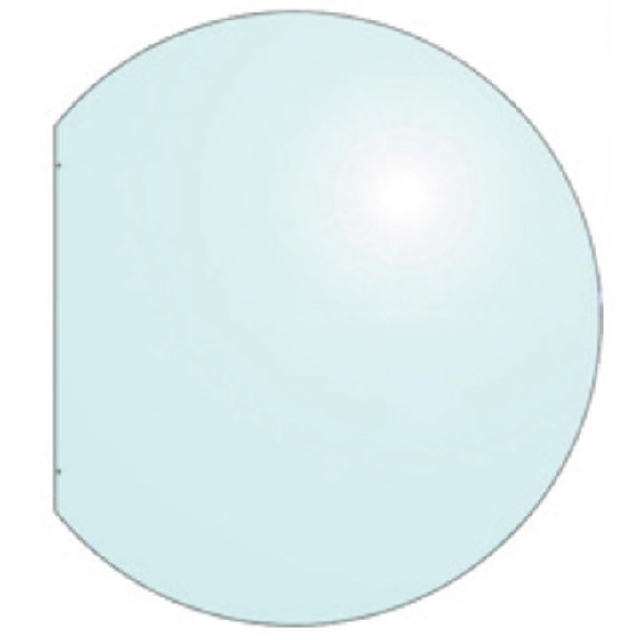 EVA 12mm Truncated Circle Glass Hearth Floor Plate (930x1000) - Clear