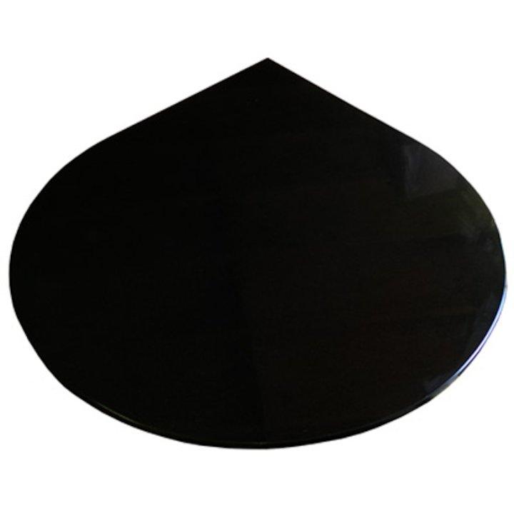 EVA 20mm Teardrop Circle Polished Black Granite Floor Plate (1100x950) - Black