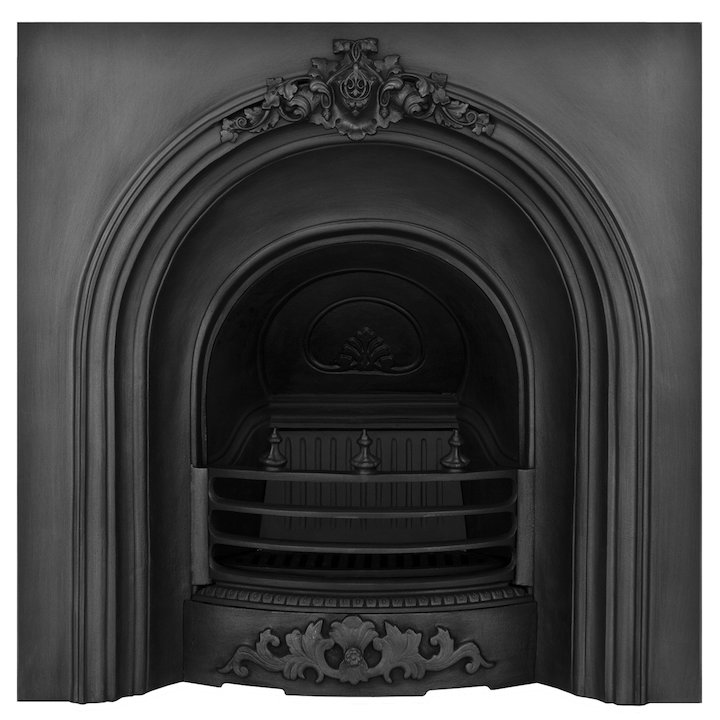 Carron Prince Cast-Iron Arched Fireplace Insert - Black