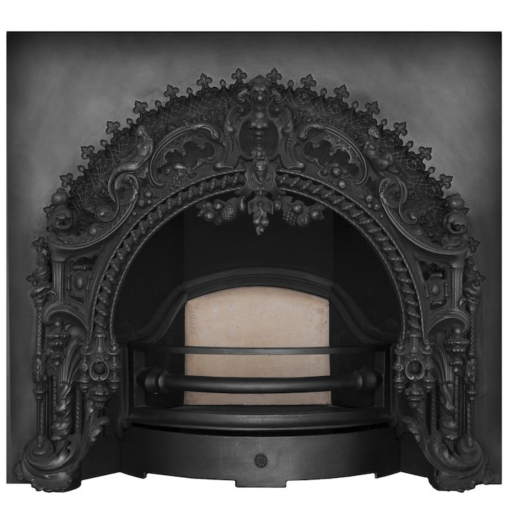 Carron Rococo Cast-Iron Arched Fireplace Insert - Black