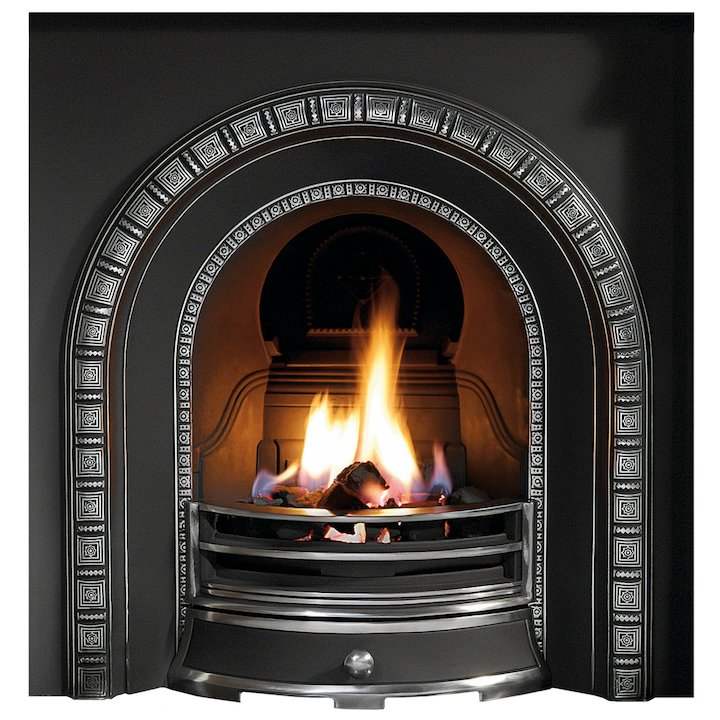Gallery Henley Cast-Iron Arched Fireplace Insert - Black / Highlight Polish