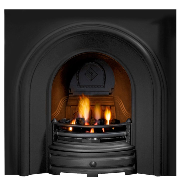 Gallery Crown Cast-Iron Arched Fireplace Insert - Black