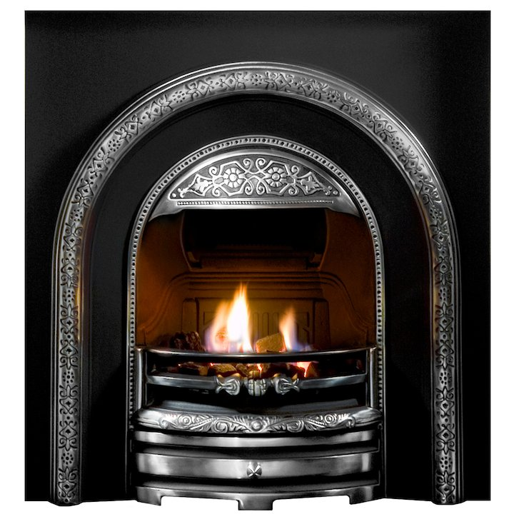Gallery Bolton Cast-Iron Arched Fireplace Insert - Black / Highlight Polish
