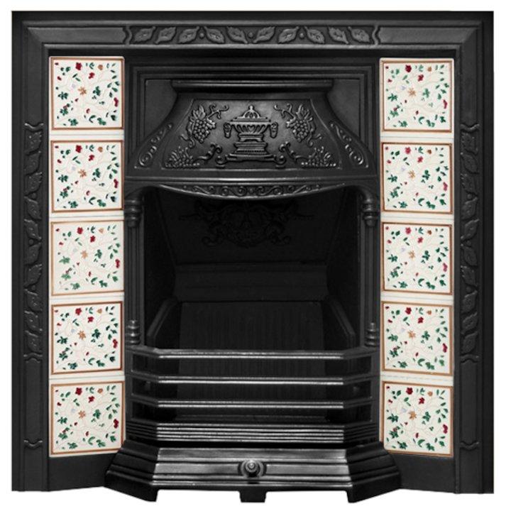 Carron Laurel Cast-Iron Tiled Fireplace Insert - Black