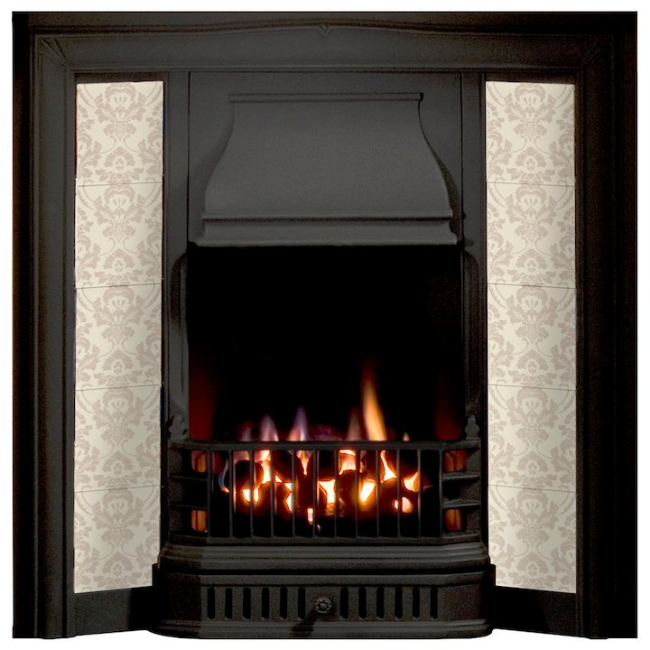Gallery Soverign Cast-Iron Tiled Fireplace Insert - Black