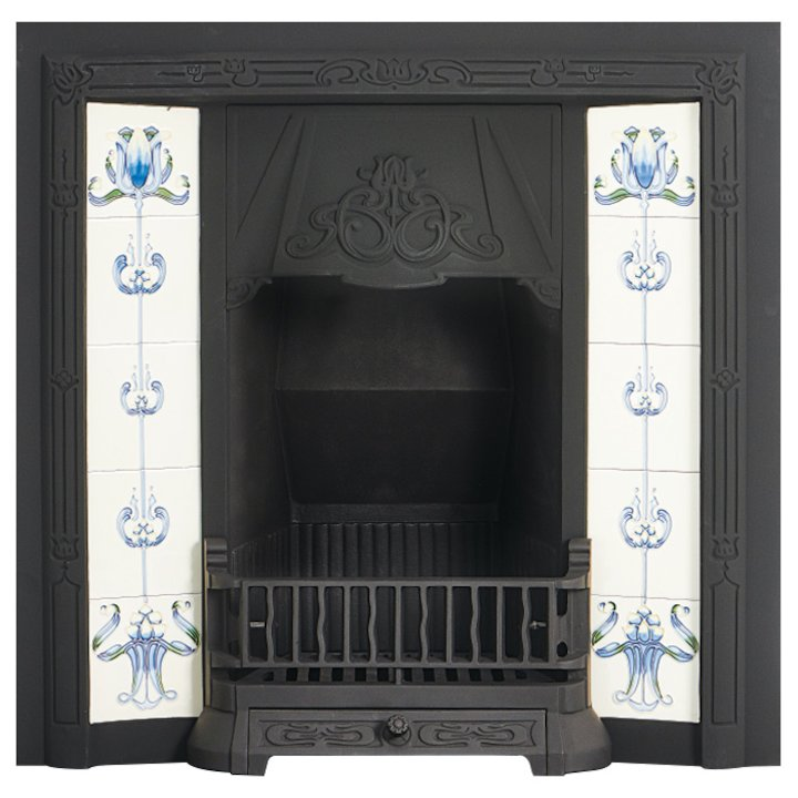 Gallery Toulouse Cast-Iron Tiled Fireplace Insert - Black