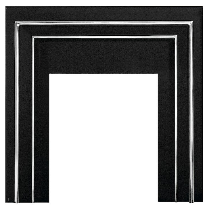 Gallery Hamilton Cast-Iron Fascia Back Panel - With British Opening - Black / Highlight Polish