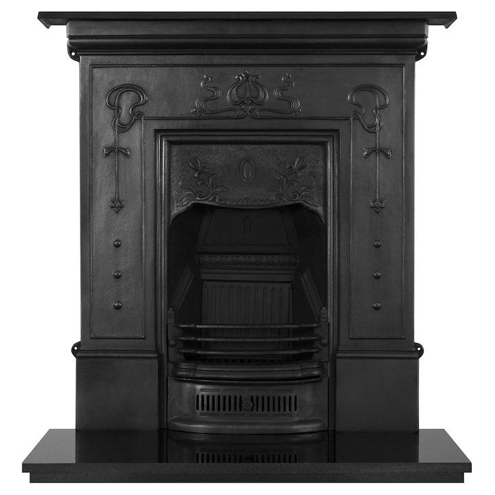 Carron Bella Large Cast-Iron Fireplace Combination - Black