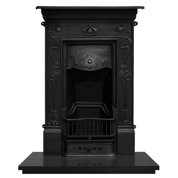 Carron Crocus Cast-Iron Fireplace Combination - Black