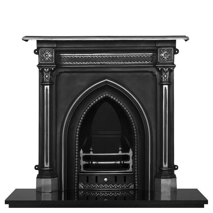 Carron Gothic Cast-Iron Fireplace Combination - Black / Highlight Polish