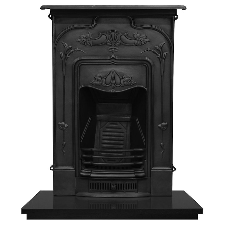 Carron Jasmine Cast-Iron Fireplace Combination - Black