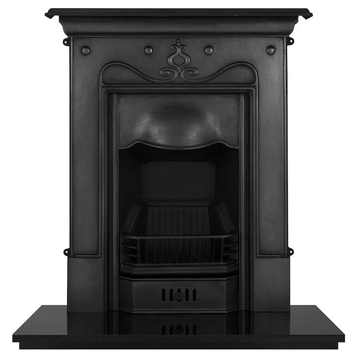 Carron Tulip Cast-Iron Fireplace Combination - Black