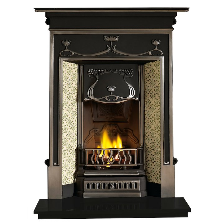 Gallery Fulham Cast-Iron Fireplace Combination - Black / Highlight Polish