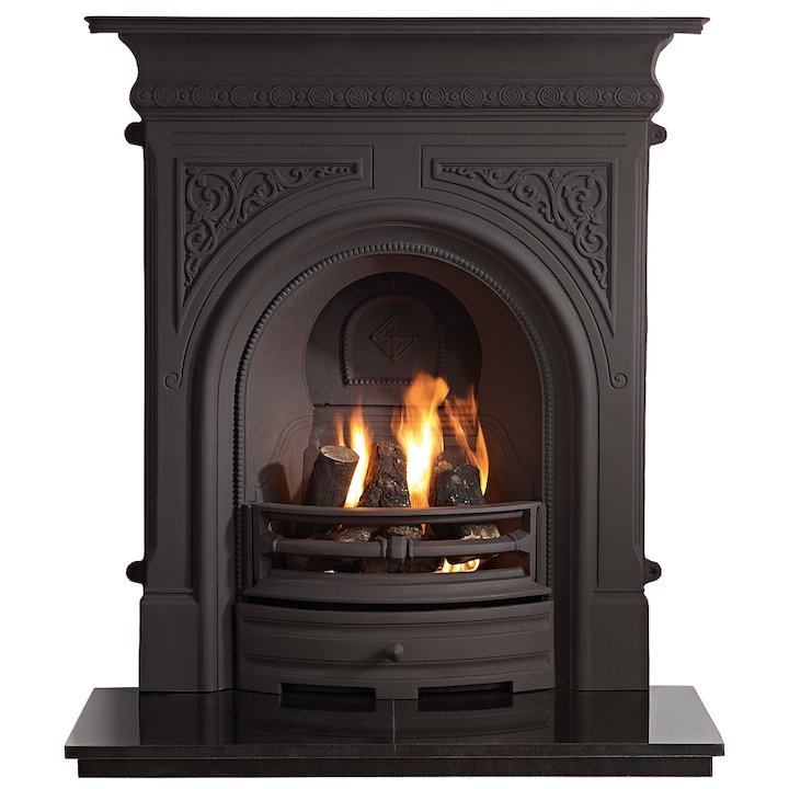 Gallery Celtic Cast-Iron Fireplace Combination - Black