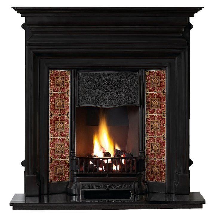 Gallery Edwardian Cast-Iron Fireplace Combination - Black