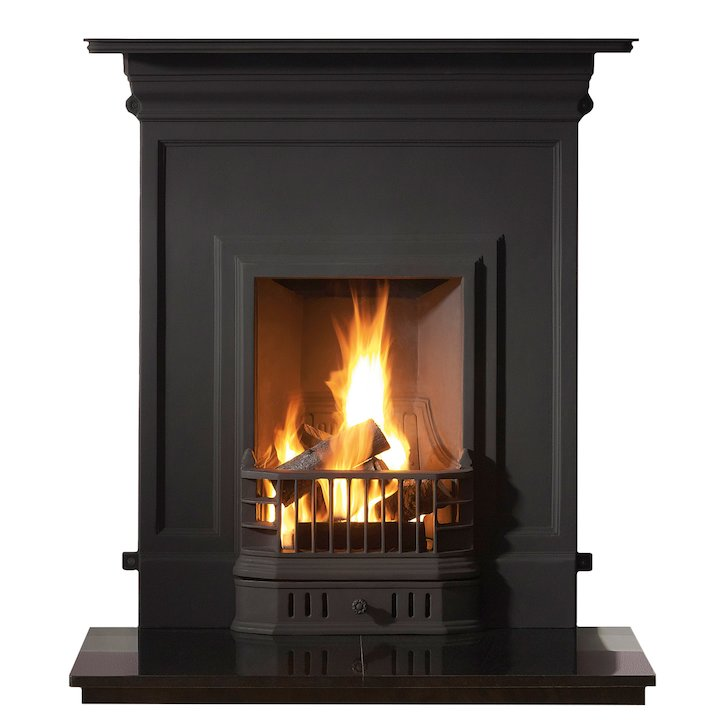 Gallery Barcelona Cast-Iron Fireplace Combination - Black