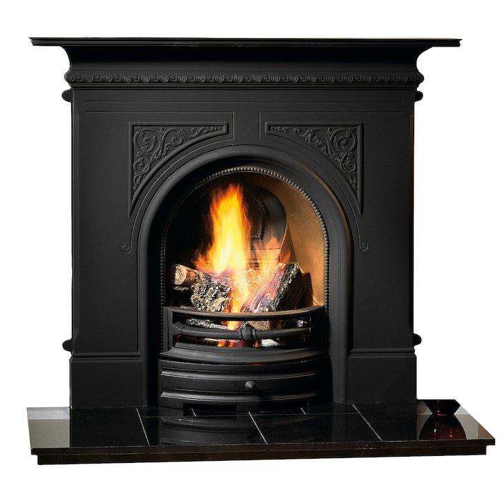Gallery Pembroke Cast-Iron Fireplace Combination - Black