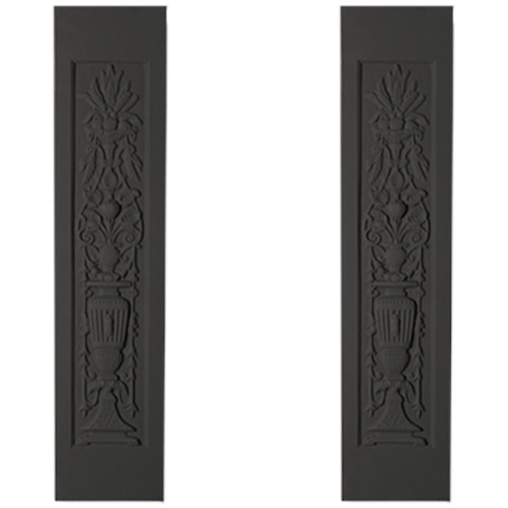 Cast-Tec Lily Urn Cast-Iron Fireplace Tile Panels - Black