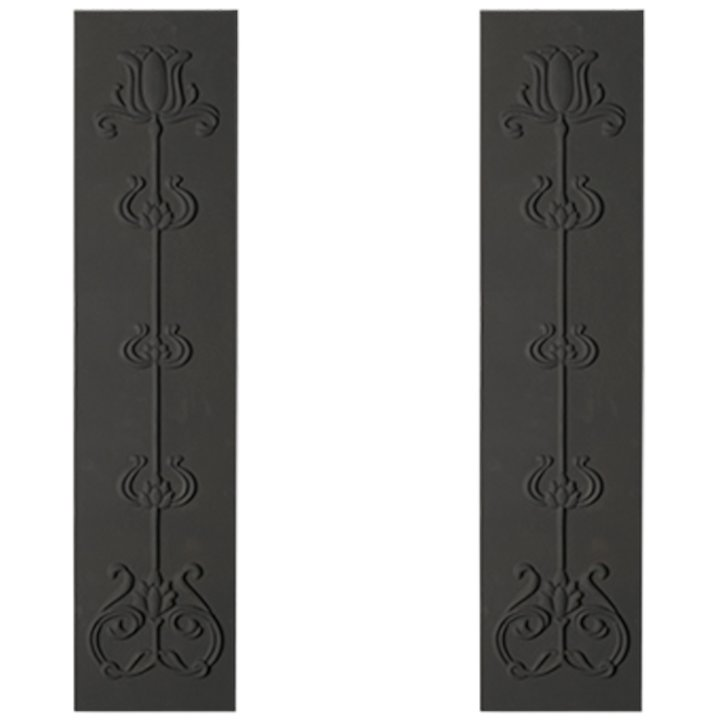 Cast-Tec Tulip Cast-Iron Fireplace Tile Panels - Black