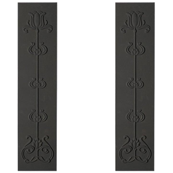 Cast-Tec Tulip Cast-Iron Fireplace Tile Panels - Black